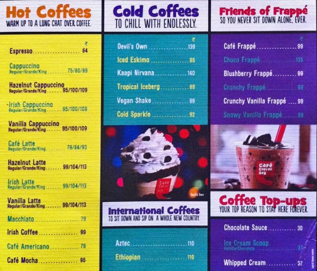 Coffee Day Menu Card With Price Cafe Coffee Day Shibpur Menu