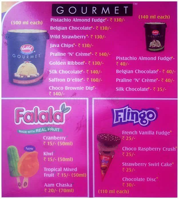 Vadilal Ice Cream Menu, Menu for Vadilal Ice Cream, Vijay ... Vadilal Ice Cream Price List