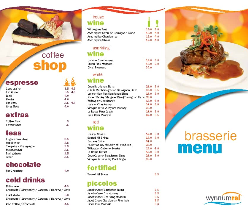 The brasserie family restaurant menu urbanspoon zomato for Australian cuisine menu