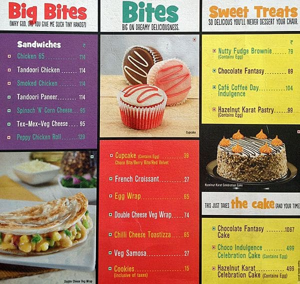 Coffee Day Menu Card With Price Cafe Coffee Day Mahim Menu