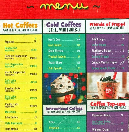 Coffee Day Menu Card With Price Cafe Coffee Day Parel Menu