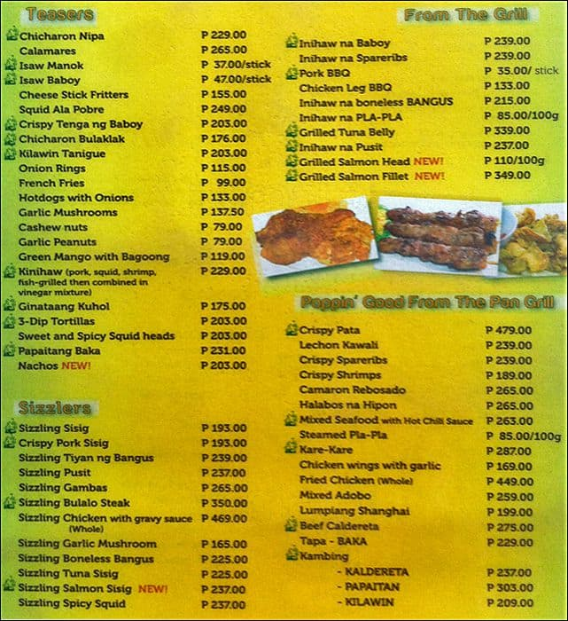 Nipa Hut Restaurant Nipa Hut Motoyori Oranbo Menu