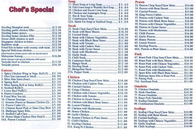 Diamond Palace Chinese Restaurant Menu Zomato Australia
