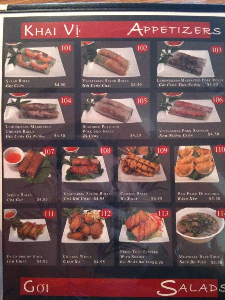 Pho Hoa Hong Beaverton Menu