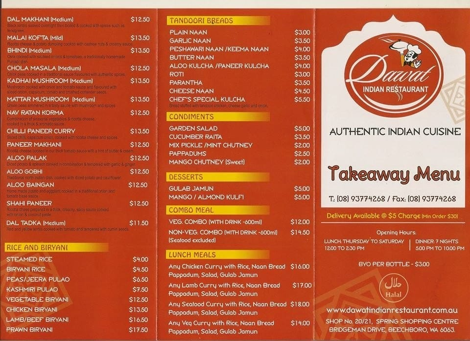 Dawat indian restaurant menu menu for dawat indian for Australian cuisine menu