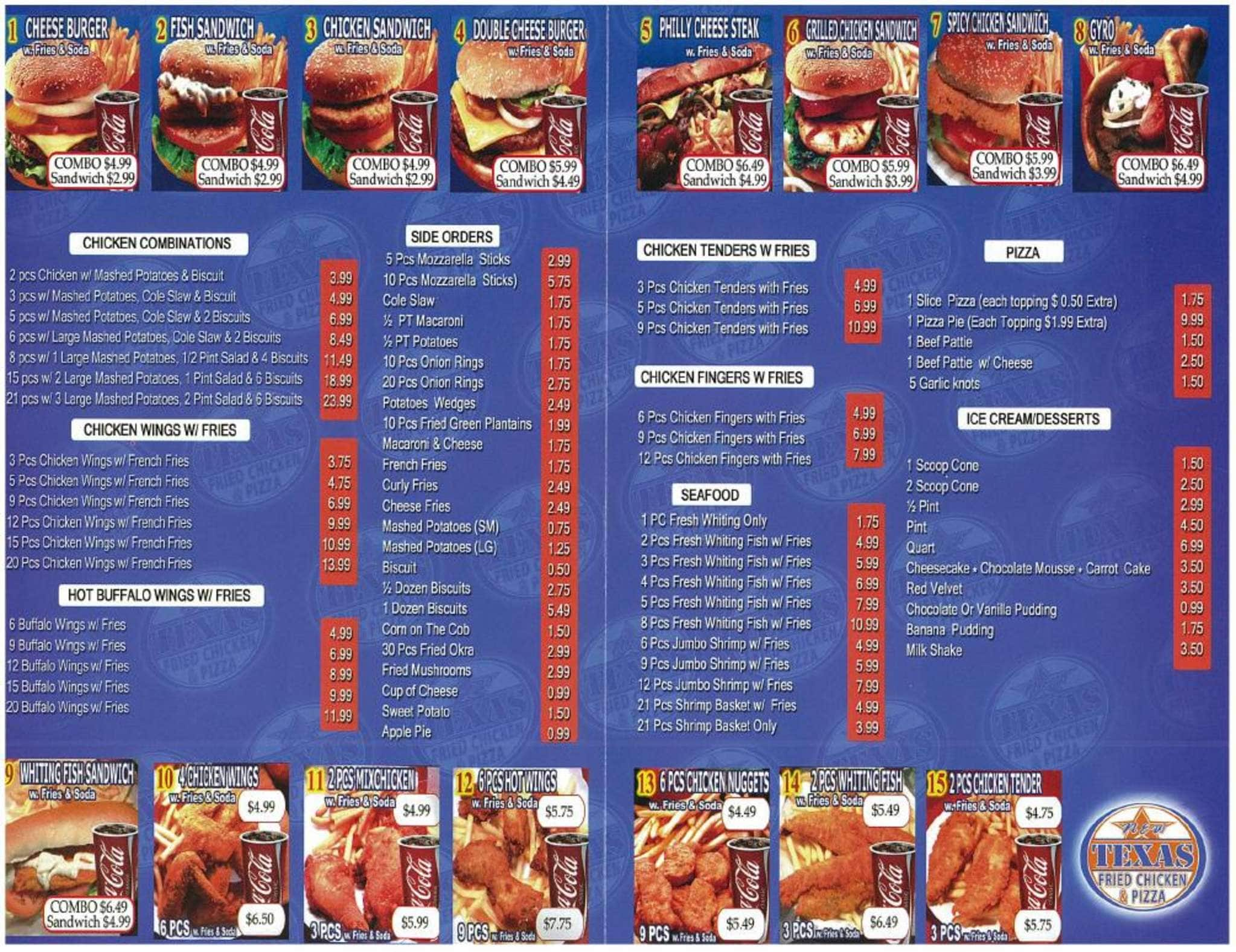 Texas Fried Chicken Menu New Texas Fried Chicken