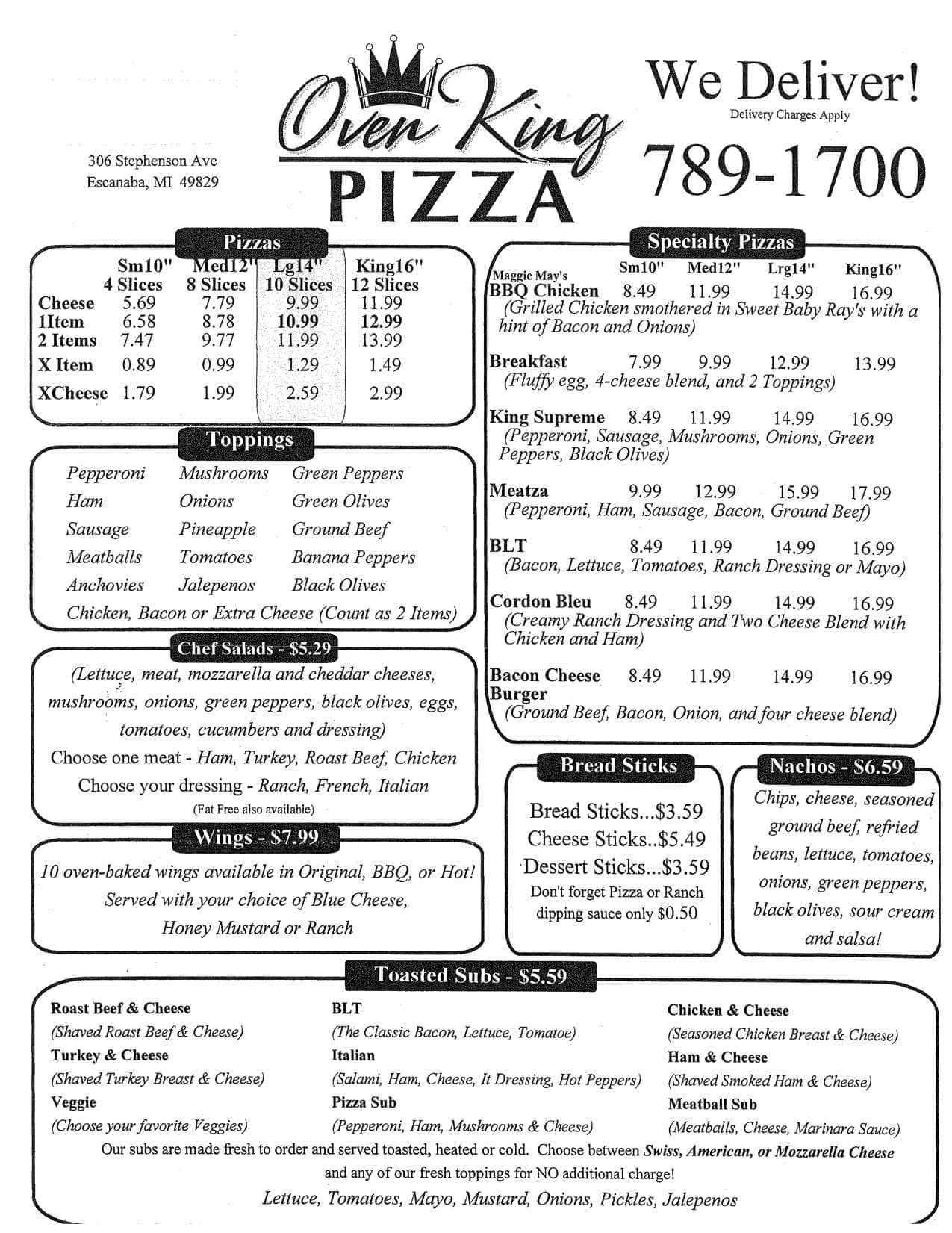 Escanaba (MI) United States  City pictures : ... , Menu for Oven King Pizza, Escanaba, Escanaba Zomato United States